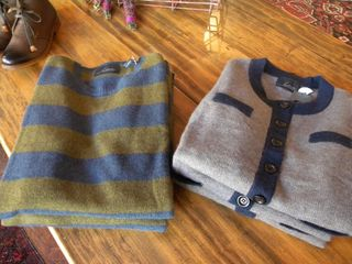 Line Striped Pullover and Cardigan