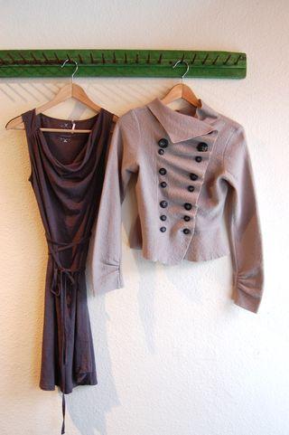 Velvet Dress and Groa Sweater in Greys